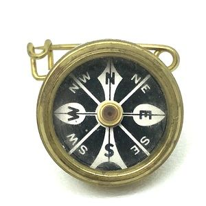 60s Marble's Gladstone Mich USA Brass Compass Pin